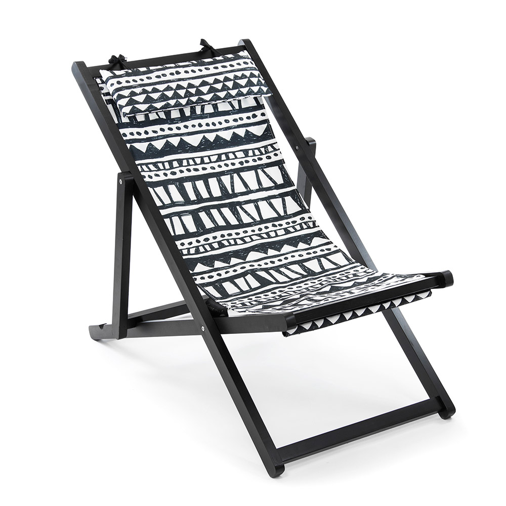 folding deck chair black white canvas. Black Bedroom Furniture Sets. Home Design Ideas