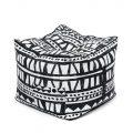 Black/White Fabric Cube Ottomans