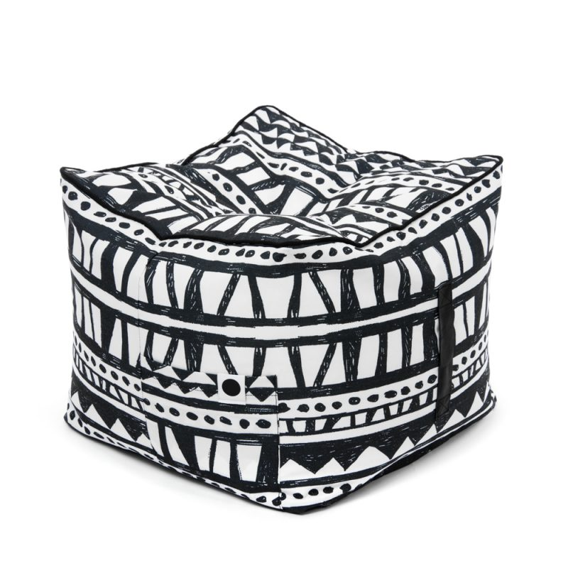 Black/White Fabric Cube Ottomans