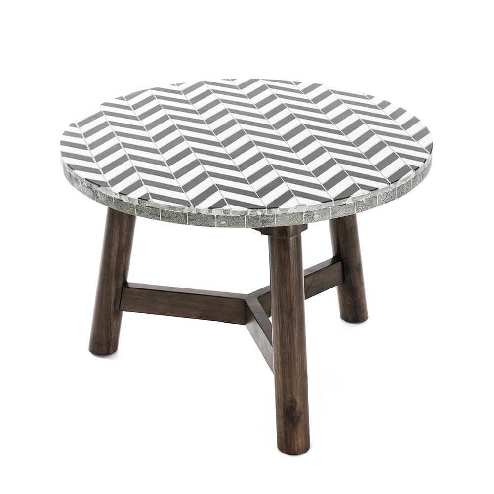 Round Outdoor Designer Coffee Table Ceramic Tiles Wood